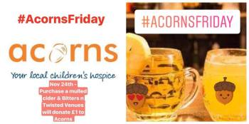 Acorns Friday logo and drink